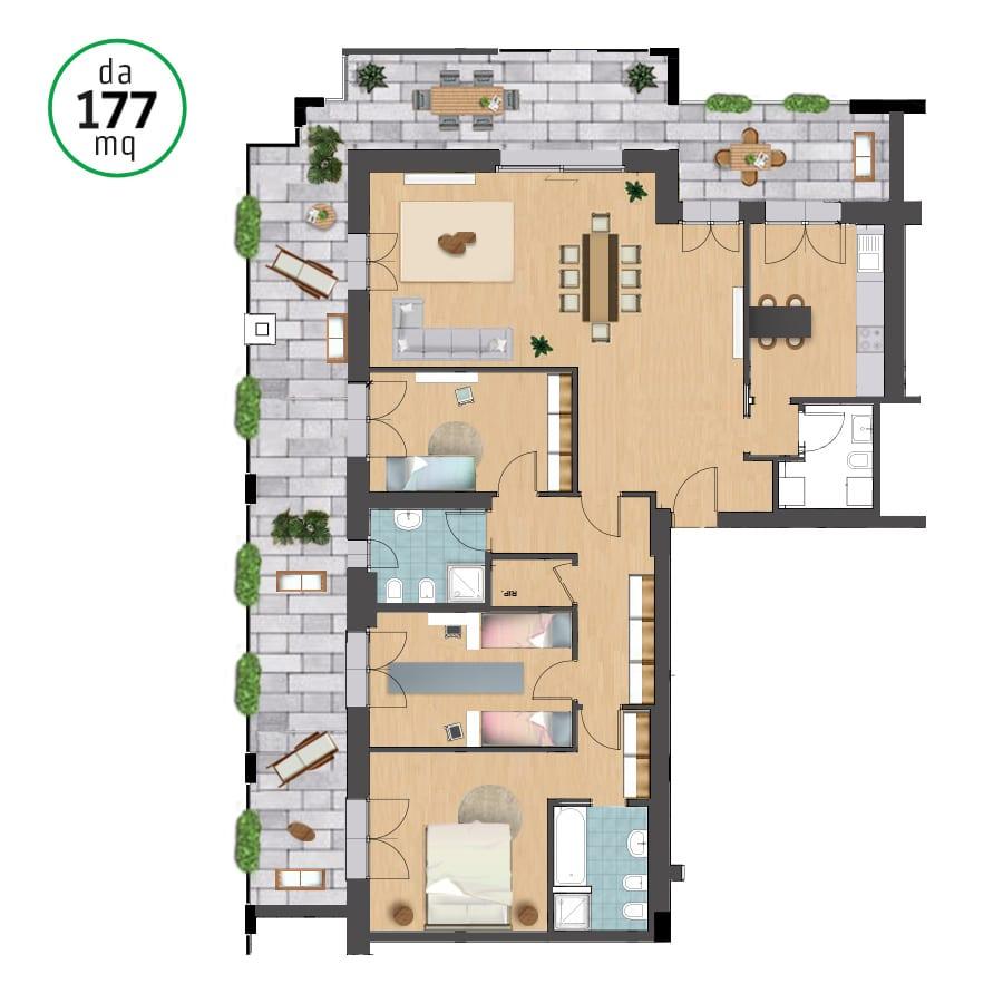 Appartamento 177 mq quadrilocale monza